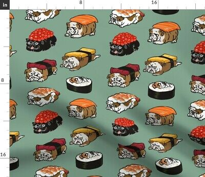 English Bulldog Sushi Kawaii Animal Food Fabric Printed by Spoonflower BTY