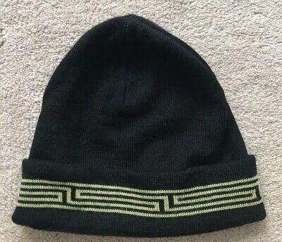VTG  Versace Boys  Black Wool Beanie Hat Made in Italy Sz S