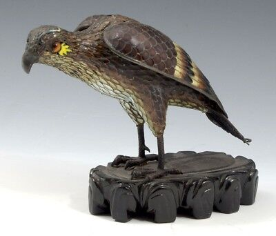 Finely Enameled Antique Chinese Cloisonne Falcon with Filigree Tail Tiger Eyes