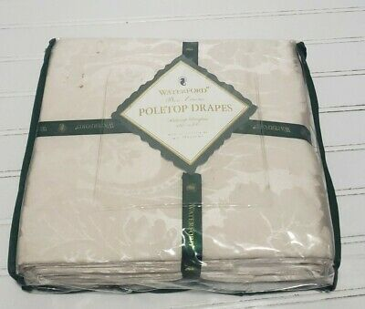 """RARE Ivory WATERFORD bed linen Poleotop Drapes NEW - 100""""x84"""" W.c Designs"""
