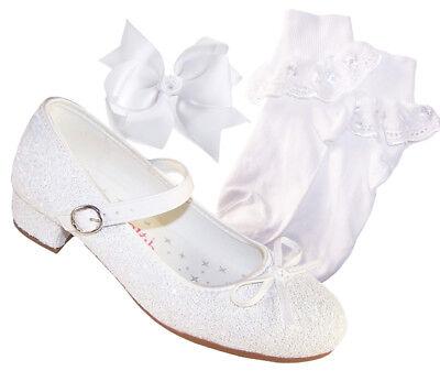 Mädchen Kinder Weiß Absatz Funkelnd Heilige Kommunion Brautjungfer Schuhe Socken