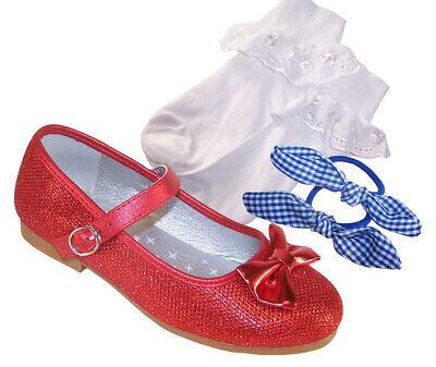 Mädchen-rot Funkelnder Glitzer Ballerinas Socken Haare Satz Dorothy Woz ()