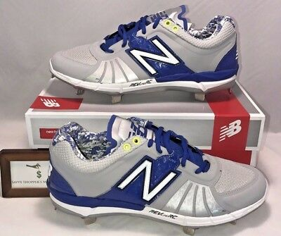 84664ce1978c06 New Balance Mens Size 10.5 Low Metal Baseball Cleats Blue Silver