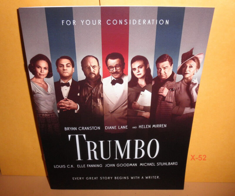 TRUMBO oscar FOR YOUR CONSIDERATION academy awards promo PAMPHLET bryan CRANSTON
