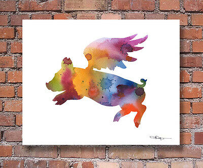 FLYING PIG Contemporary Watercolor ART Print by Artist DJR