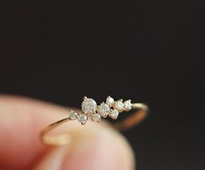14K YELLOW GOLD 1.50CTW ROUND BRILLIANT DIAMOND SPIRAL CLUSTER RING SIZE 6 #10