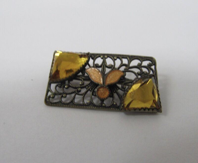 Art nouveau Antique Vintage Brass & Amber Rhinestone with Cloisonné Pin Brooch