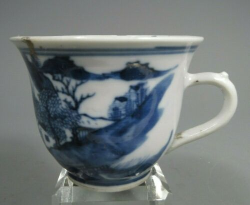 China Chinese Porcelain Blue & White Landscape Decor Tea Cup ca. 18-19th century