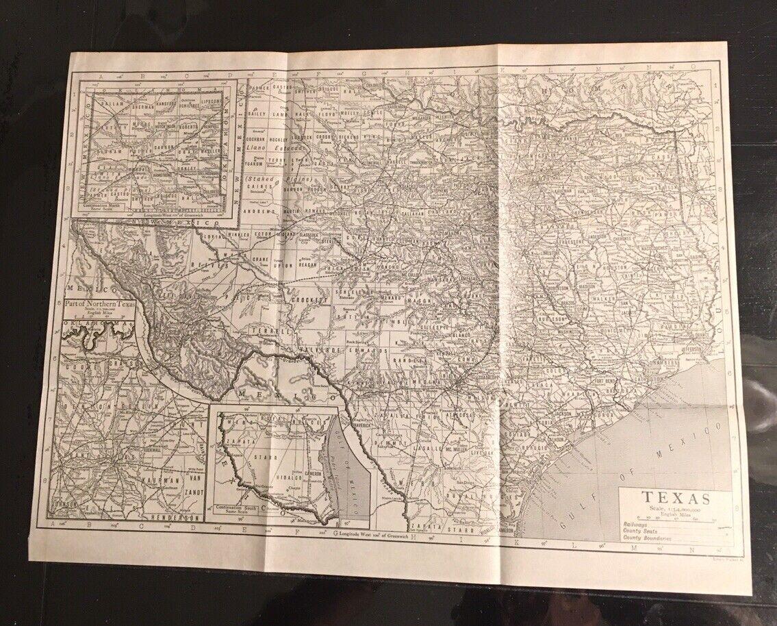 Authentic Antique 1910 Emery Walker Folding Texas Map w Railways Towns Etc