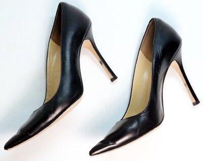 Manolo Blahnik Classic Black BB 105 Leather High Heel Pumps Pointed 40 US 9.5 M