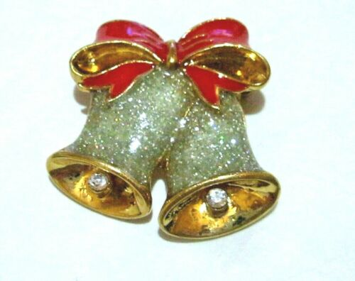 Vintage Enameled Glitter and Red Double Bells Christsmas Pin Brooch