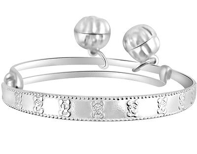 BABY BRACELET ANKLET WITH JINGLE BELLS ENGRAVED TEDDY BEAR 925 STERLING SILVER  for sale  USA