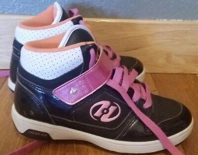 Heelys Girls high top Shoes Size 5 Black Wheels Pink Orange White Roller Skate