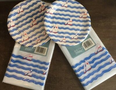 NOS Sailboat Ocean Beach Theme Party Paper Plates & Tablecloth Lot - Beach Themed Paper