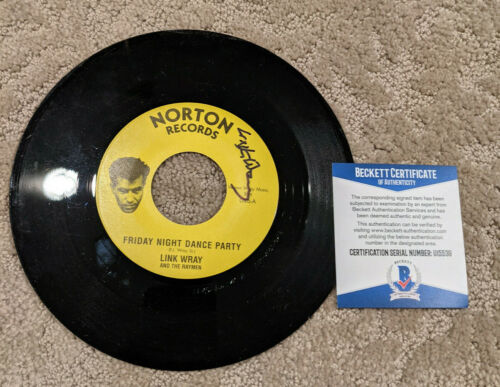 LINK WRAY Signed AUTOGRAPHED 45 RECORD Beckett COA ROCK & ROLL HOF Bunker Hill