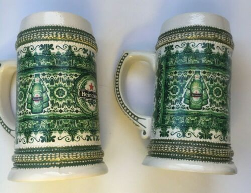 2 lot Heineken Porcelain Green Painted Stein Rare and Heavy