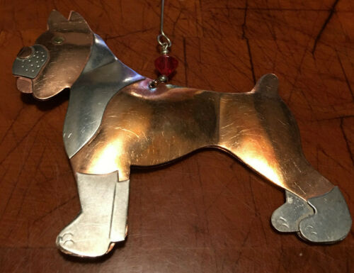 Brand New Pilgrim Imports Beaded Boxer Distressed Metal Christmas Ornament