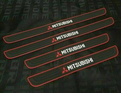 MITSUBISHI Red-Black Rubber Door Scuff Sill Cover Panel Step Protector 4PCS