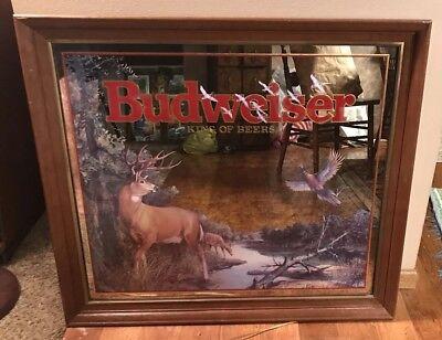 Large Budweiser Beer Wildlife Whitetail Deer Buck pheasant Mirror Sign Bud Light