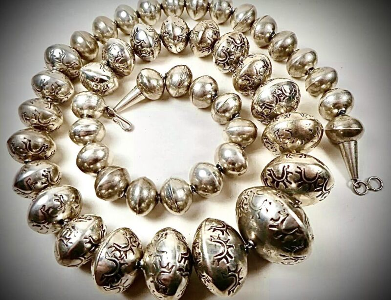 """🐎HEAVY 96G🐎STAMPED STERLING SILVER 🐎BENCH BEAD NAVAHO ZUNI🐎NECKLACE 25""""1950S"""