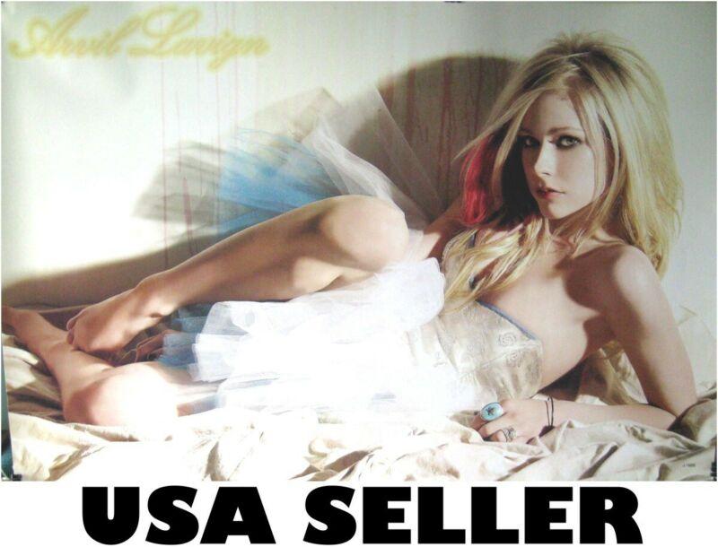 Avril Lavigne white teddy horiz sexy horiz POSTER 34 x 23.5 ship from USA
