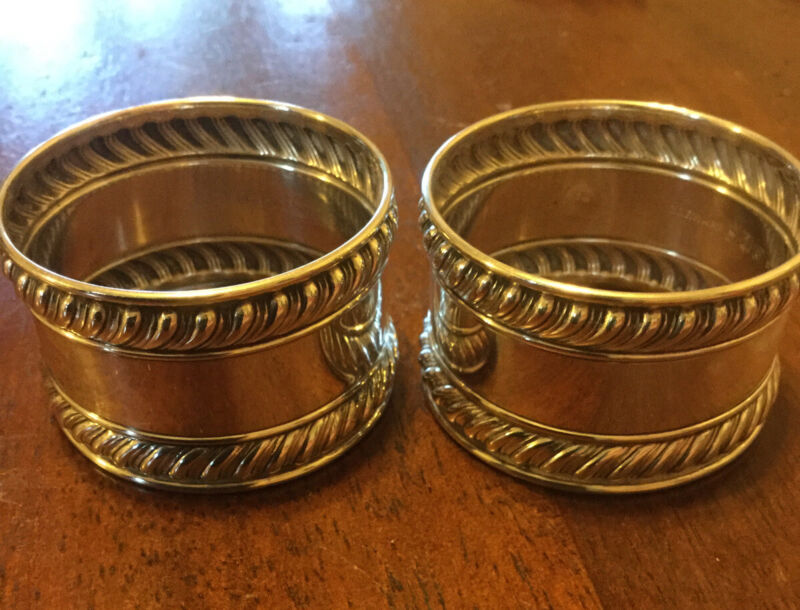 Gorham English Gadroon Sterling Silver Napkin Rings #522