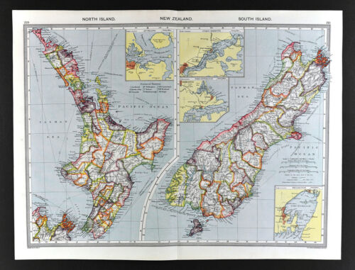 1907 Map New Zealand Aukland Wellington Christchurch by London Geographical Inst