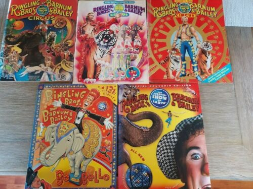 Ringling Bros. and Barnum & Bailey Circus Souvenir Programs Lot of 5