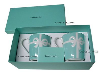 New TIFFANY & CO Bone China Blue Bow Ribbon 2 Mug Cup Set Gift Box from JAPAN