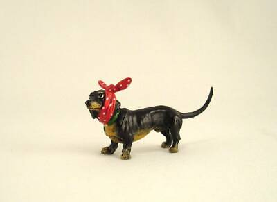 Franz Bergmann Vienna Austria Standing DACHSHUND with Toothache Cloth Bronze Dog for sale  Shipping to Canada