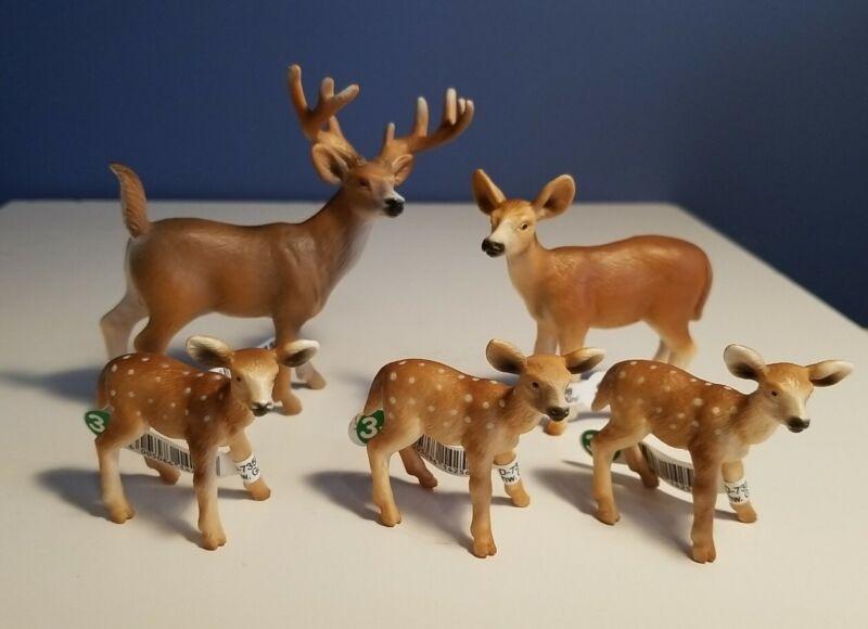 New RETIRED Schleich WHITE TAILED DEER, Buck, Doe & (3) Fawns, #14253, 14254