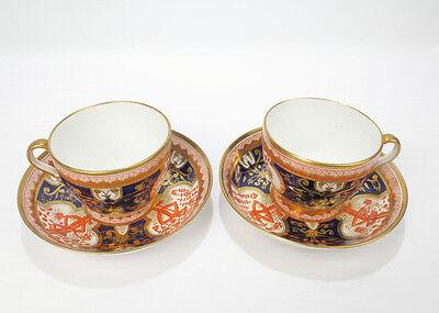 2 Antique Spode Porcelain Dollar Tree Pattern Cups   Saucers   Imari 715   Pc