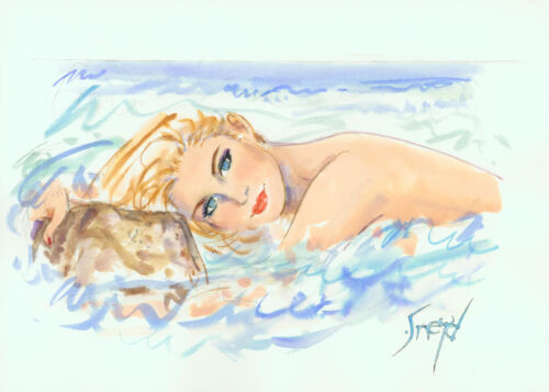 Playboy Artist Doug Sneyd Signed Original Art Sketch ~ Blue Eyed Blond at Beach