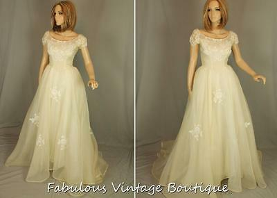 RARE Vtg 50s MARIE of PANDORA Couture Ivory Chiffon Wedding Dress Gown Lace