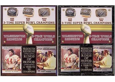 Washington Redskins 3 Time Super Bowl Champions Rings Of Honor Photo Card Plaque