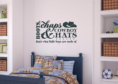 Boots Chaps Cowboy Hats Boys Room Decor Vinyl Decal Wall Sticker Lettering - Cowboy Room Decor