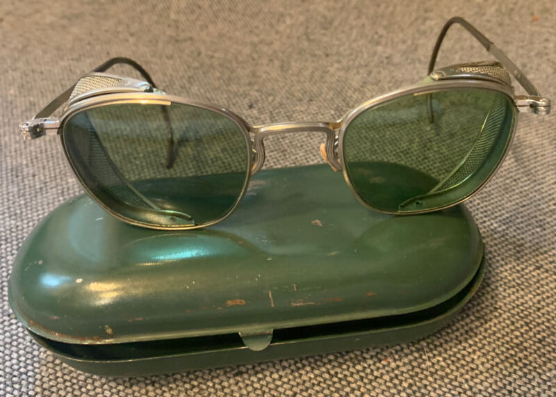 Vintage Antique 1920s Motorcycle Safety Goggles Glasses Mesh Blinders Green Lens