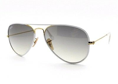 Ray Ban RB 3025 JM 146/32 White Gold Grey Gradient New Authentic (Ray Ban Aviator White)