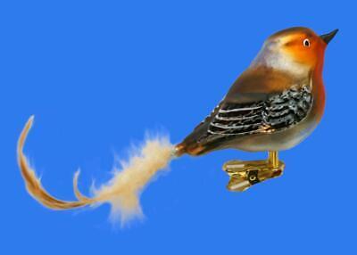 ROBIN REDBREAST FOREST BIRD GERMAN GLASS CHRISTMAS TREE ORNAMENT CLIP ON VOGEL