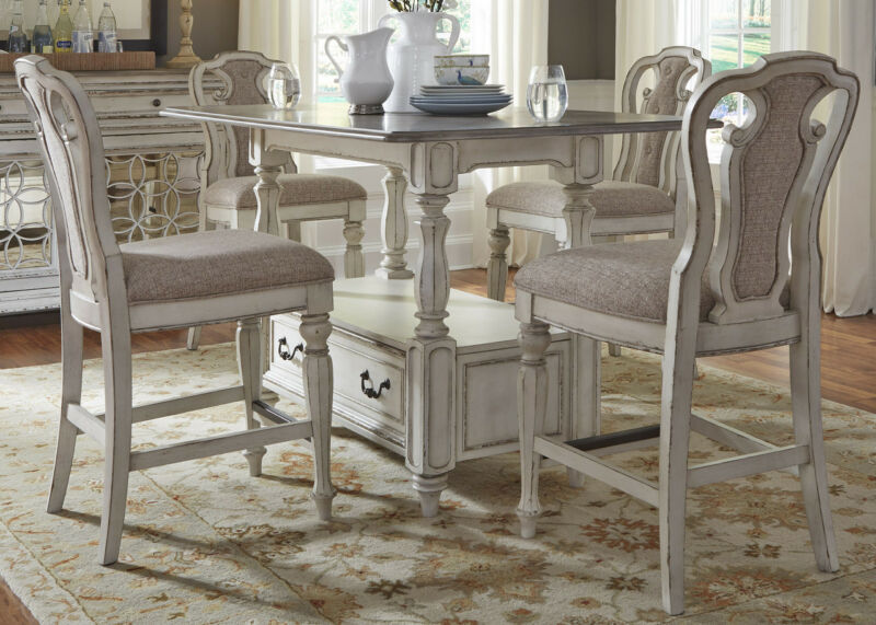 "Magnolia Counter Height 60"" 5-pc Dining Table W/storage Set Antique White Finish"