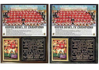 Kansas City Chiefs Super Bowl Iv Champions Photo Card Plaque Len Dawson Mvp