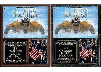 Michael Phelps 23 Career Gold  Medals Photo Plaque 2016 Rio Olympics - Michael Phelps Olympic Medals