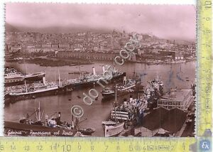 Cartolina-Postcard-Genova-Panorama-del-Porto-navi-1950