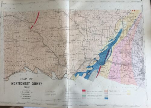 ORIGINAL 1893 J.L. SMITH, MONTGOMERY COUNTY, PENNSYLVANIA, PLAT ATLAS MAP 20x30