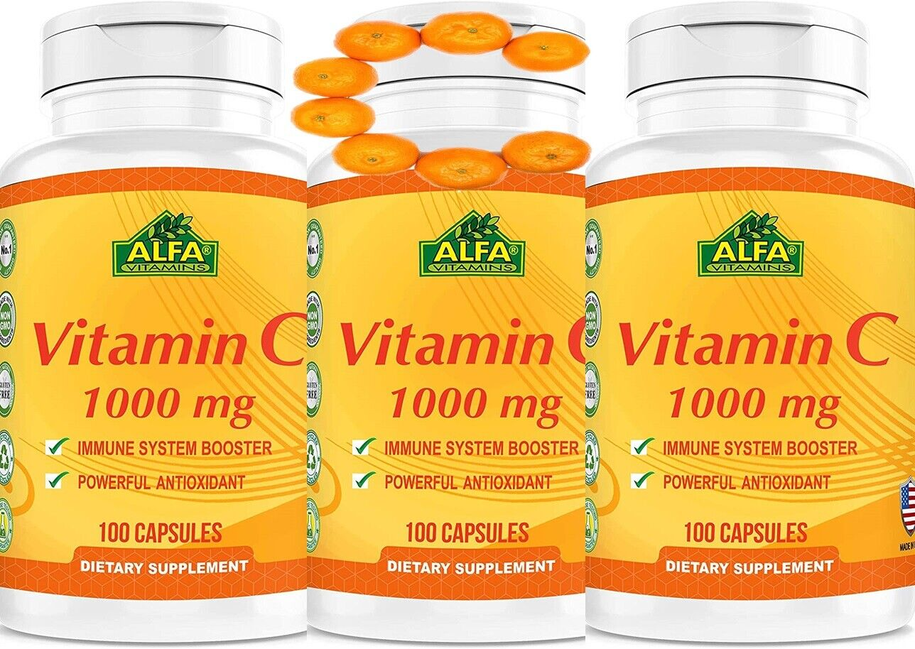 Vitamin C 1000 mg Support the Immune System 300 capsules Fast Shipping 3 bottles
