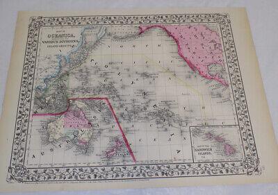 1867 Antique COLOR Map//OCEANICA, including SANDWICH/HAWAIIAN ISLANDS