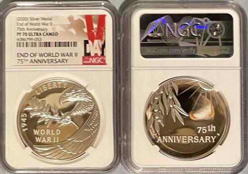 NGC PF70 2020 P World War 2 II End 75th Anniversary 1oz Silver Medal Eagle - $308.75