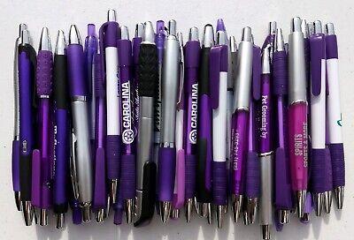 30 Ct. Mixed Lot Purple Violet Lavendar Retractable Misprint Click Pens