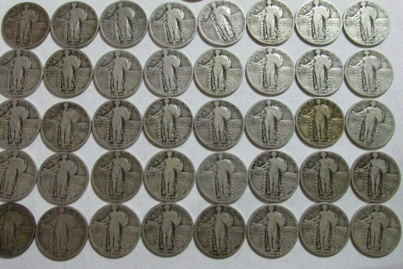 Roll of 40 $10 Face 90% Silver Standing Liberty Quarters Dated BULK 1925-30