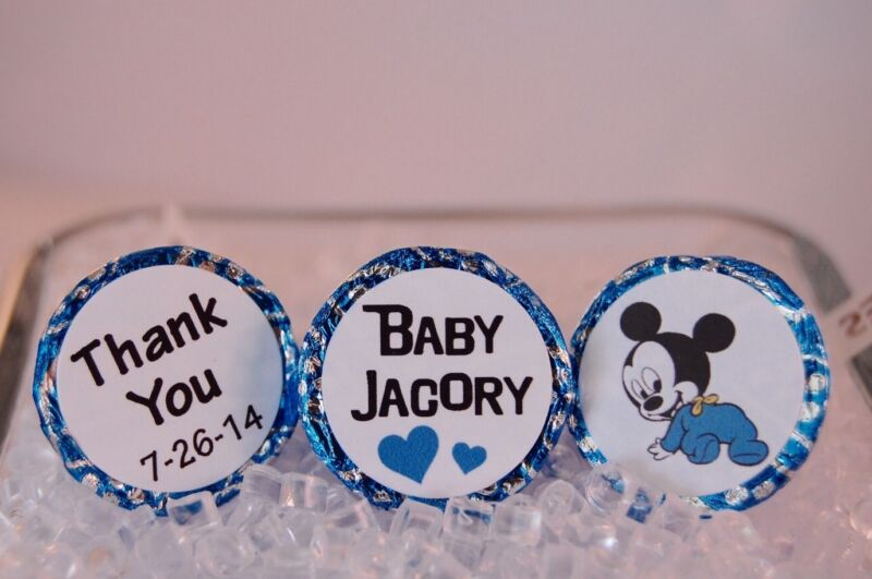 120 Baby Shower Hershey Kiss Labels/ Baby Mickey Labels Stickers